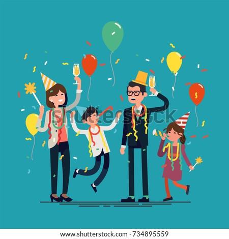 Family celebrating party. Cool vector character design on happy modern family having a party cheering and jumping with party hats, confetti, balloons, etc.