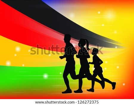Family concept : Family running exercise and flag. - stock vector
