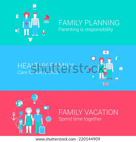 Family concept flat icons set of planning parenting health care child vacation and vector web banners illustration print materials website click infographics elements collection - stock vector