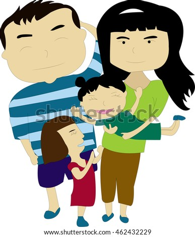 Family consists of father, mother and two daughters