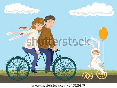 Family Cycling: Father, Mother and Child in Rabbit Costumes - stock vector
