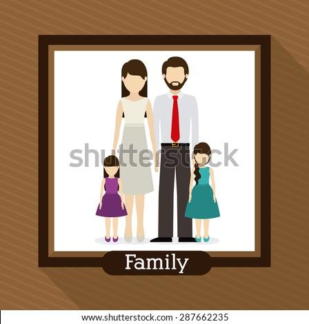 family  design over brown background, vector illustration - stock vector