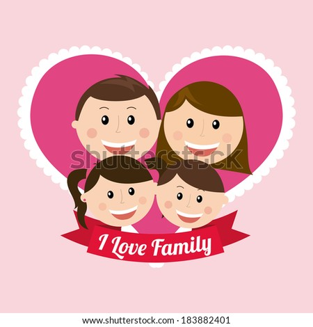 Family design over pink background, vector illustration