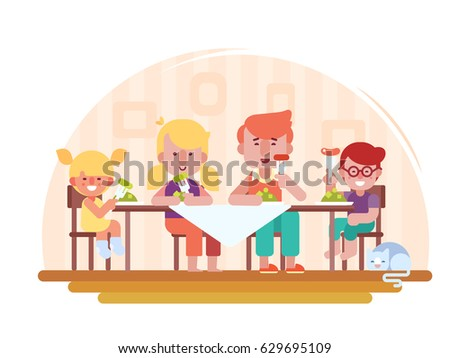 Family Dinner Vector Illustration In A Flat Style Happy