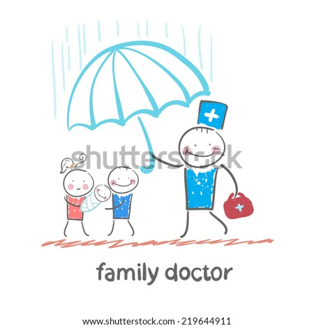 family doctor holding an umbrella from the rain on her mother, father and child - stock vector
