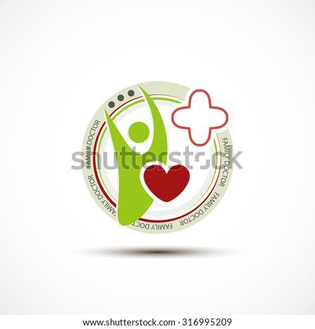 Family doctor original concept emblem or badge - stock vector