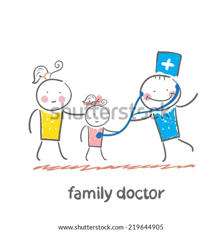 family doctor treats her mother with a child - stock vector