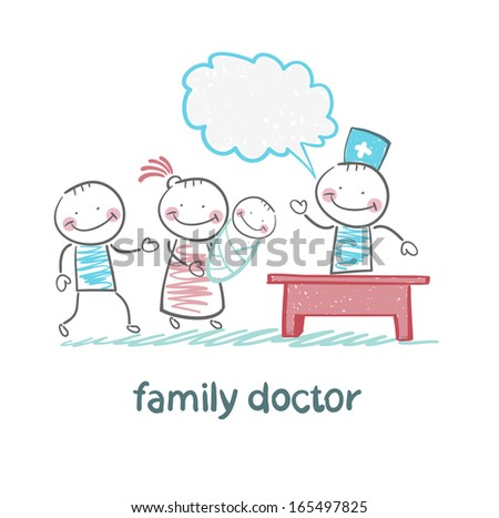 family doctor treats the mother, father and child - stock vector