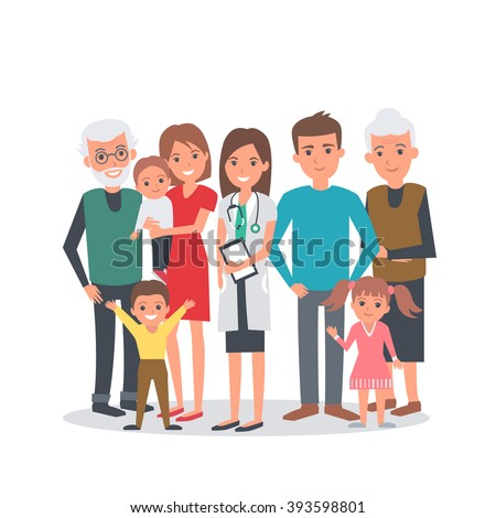 Family doctor vector illustration. Big family with doctor. Family portrait isolated on white background. - stock vector