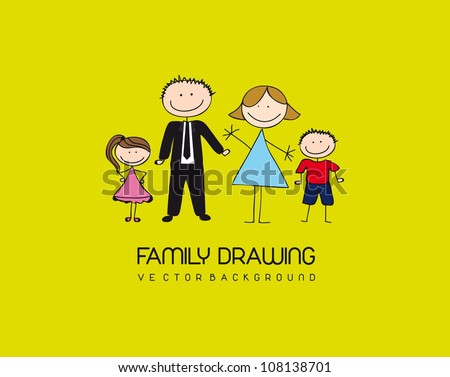 family drawing over green background. vector illustration - stock vector