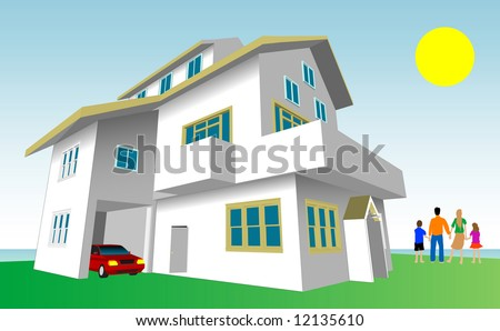 Family Dream Home Vector. Every feature of this building including doors and windows can be edited or colored to suit. - stock vector