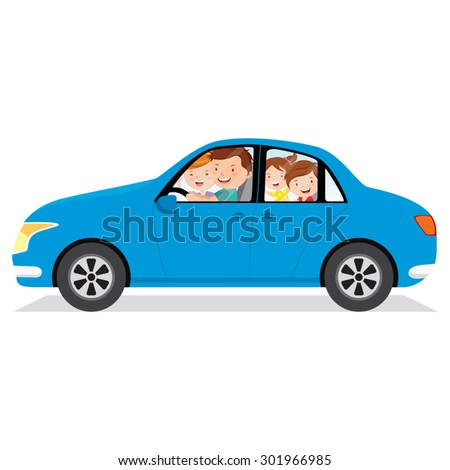 Family driving in a car isolated. Father driving the car. - stock vector