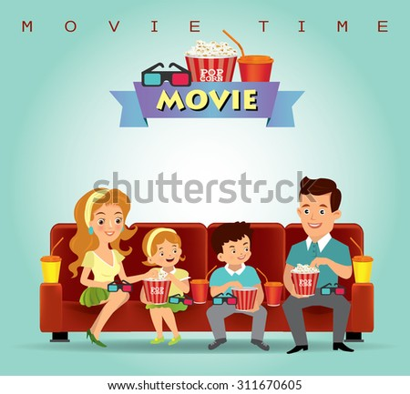 Family eating popcorn and watching movies.vector - stock vector