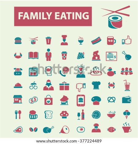 family eating, restaurant, menu, dinner icons, signs vector concept set for infographics, mobile, website, application