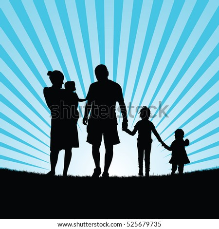 family enjoy in nature silhouette design color art illustration