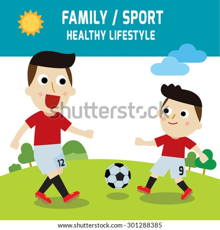 family father son playing football.elements. sport concept.vector. flat design. illustration - stock vector
