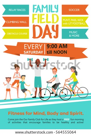 Family Fitness Template Active Healthy Sport Stock Vector 564555064