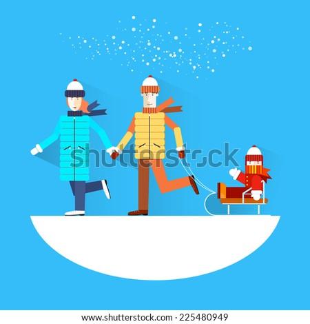 Family.Flat design.Winter holidays. - stock vector