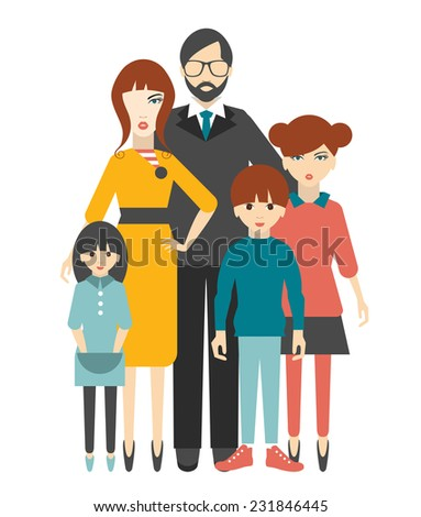 Family. Flat people group.  - stock vector