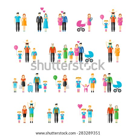 Family flat style icons. Daughter and grandfather, baby and father, son and mother, husband and wife, brother and sister. Vector illustration - stock vector