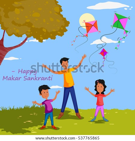 Family flying kite for Happy Makar Sankrant in vector