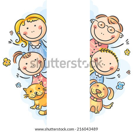 family frame/borders with a copy space - stock vector