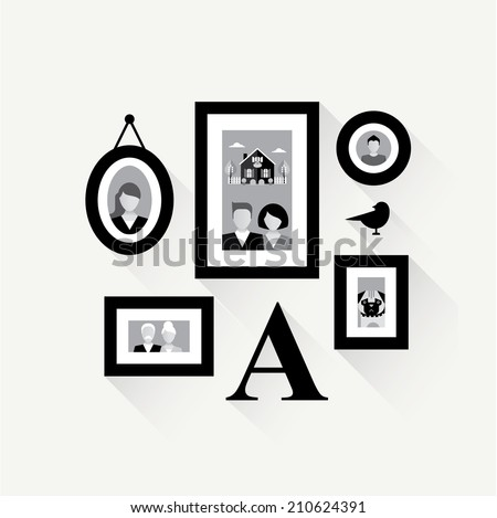 family frame collage wall vector illustration avatars - stock vector