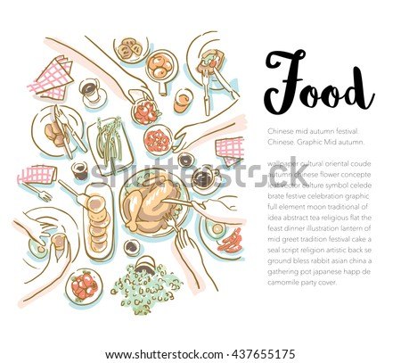 Family/friends Christmas Dinner Vector Design. Hand-Drawn Family Christmas Dinner . Top View Catering Party With People Hands. - stock vector
