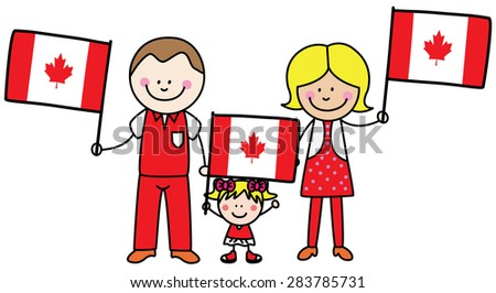 Family from canada - stock vector