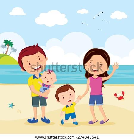 Family fun at the beach. Family having fun at the beach. - stock vector
