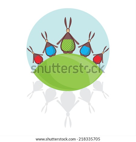 family fun dancing rabbits, postcard - stock vector