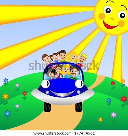 family go by rest in blue car,vector illustration - stock vector