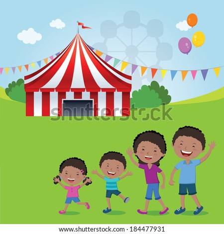 Family goes to the circus. Vector illustration of happy family going to the circus tent for fun. - stock vector