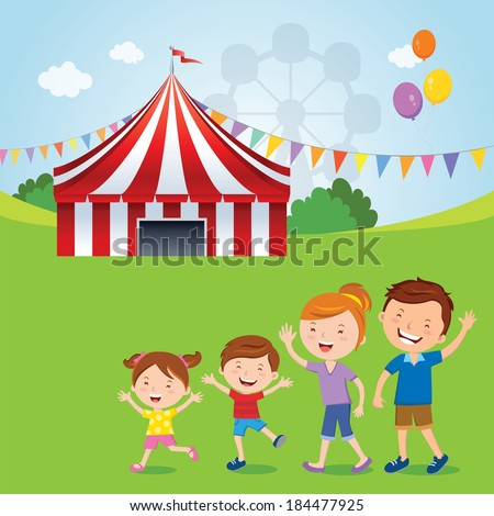 Family going to the circus. Vector illustration of happy family going to the circus tent. - stock vector
