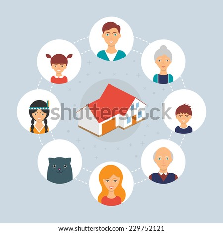Family: grandmother, grandfather, mother, father, daughter, son, cat. Vector illustration, flat style  - stock vector