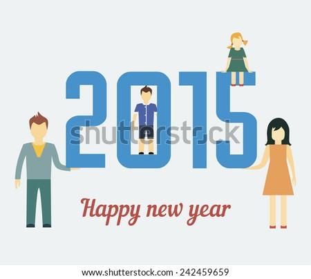 Family Happy New Year, 2015. Flat style art. vector illustration - stock vector