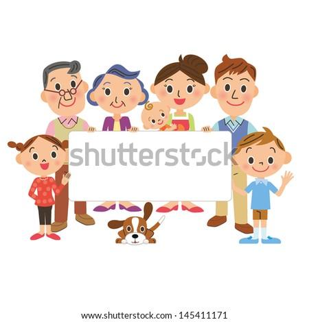 Family having a white board - stock vector