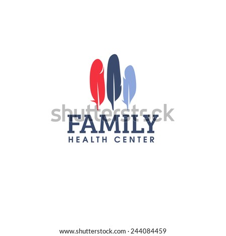 Family health center logo design vector template. Colorful feathers icon - stock vector
