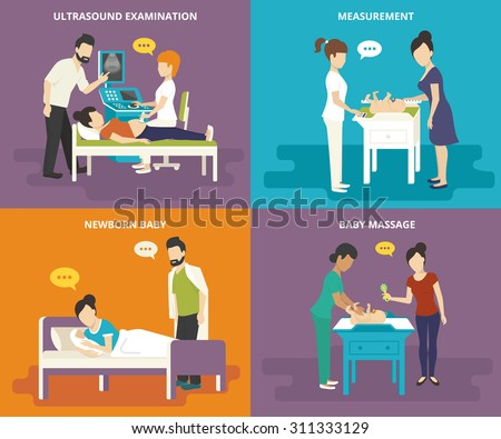 Family healthcare collection. Family concept flat icons set of ultrasound examination, birth, measurement of growth and weight, and doing baby massage - stock vector