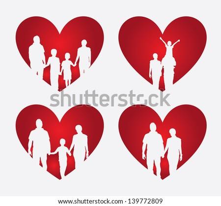 family heart over cream background vector illustration - stock vector