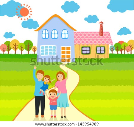 family home - stock vector