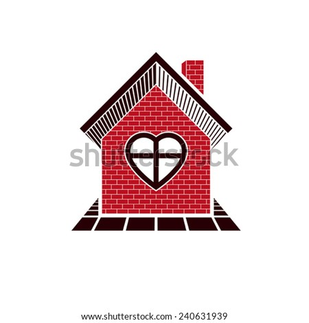 Family house abstract icon, harmony at home concept. Simple building constructed with bricks, architecture theme symbol. - stock vector