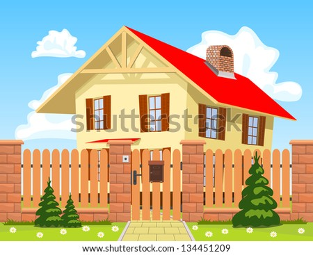 Family house behind the wooden fence with the gate. - stock vector