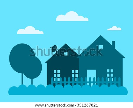 Family house building vector illustration. House building silhouette isolated on background. Cottage home house building. House vector, house building cottage vector. House silhouette. house vector - stock vector
