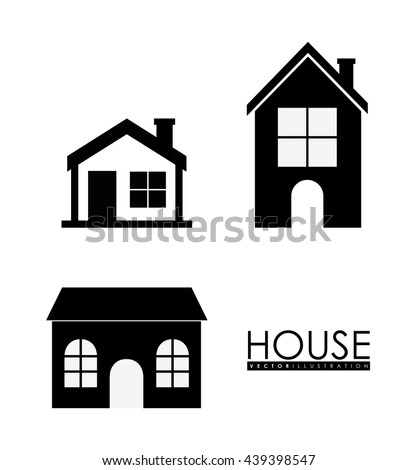 family house home icon with door and windows graphic design - Home Graphic Design
