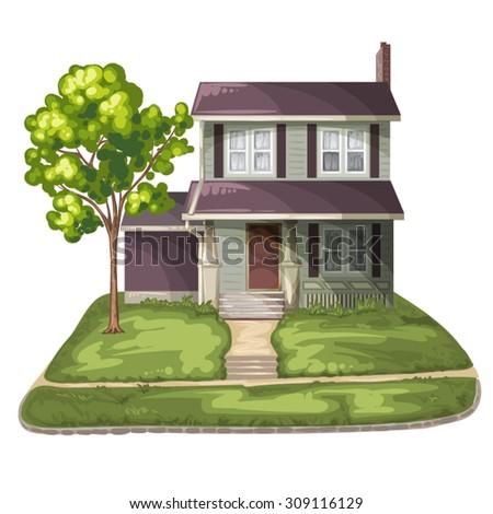 Family House on Suburban Residential Estate - stock vector