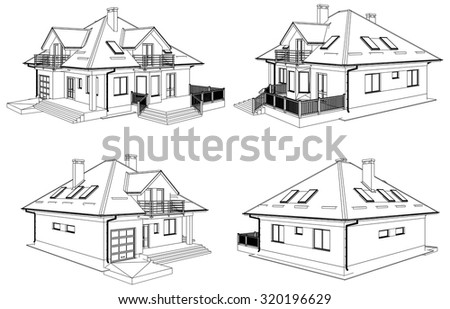 Family House Perspective Vector 01 - stock vector