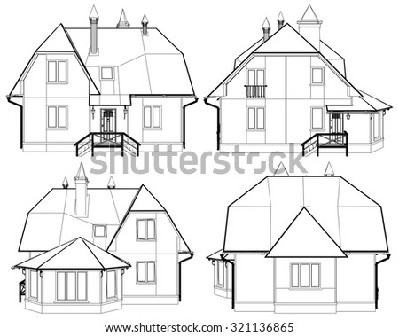 Family House Perspective Vector 03 - stock vector
