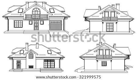 Family House Pespective Vector 07 - stock vector