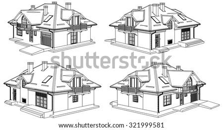 Family House Pespective Vector 08 - stock vector